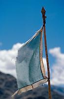 Gebetsfahne im Kloster Tikse, Ladakh (Jammu+Kashmir), Indien