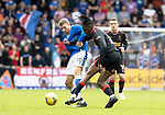 St Johnstone v Rangers…11.09.21  McDiarmid Park    SPFL<br />Jo Aribo battles with David Wotherspoon<br />Picture by Graeme Hart.<br />Copyright Perthshire Picture Agency<br />Tel: 01738 623350  Mobile: 07990 594431