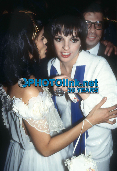 Jagger Minnelli Collacello4090.JPG<br /> Celebrity Archaeology<br /> 1977 FILE PHOTO<br /> New York, NY<br /> Bianca Jagger, Liza Minnelli, <br /> Bob Collacello at Studio 54<br /> Photo by Adam Scull-PHOTOlink.net