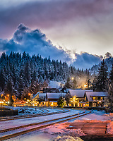 Our backyard at dusk this evening @mountainartscollective. #truckee #visittruckee #downtowntruckee #snow #winter #mountains #california #localarts #dusk