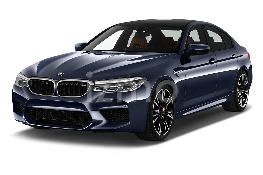 2018 BMW M5 Base 4 Door Sedan angular front stock photos of front three quarter view