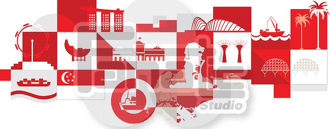 Illustrative collage of Singapore over white background