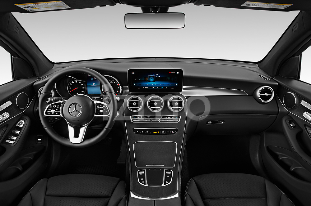 Stock photo of straight dashboard view of 2020 Mercedes Benz GLC-Class GLC300 5 Door SUV Dashboard