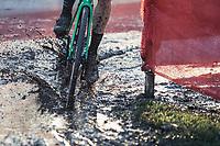 Tim Merlier (BEL/Crelan Charles) riding the mud.<br /> <br /> men's elite race<br /> Flandriencross Hamme / Belgium 2017