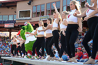 Tampa Spartans cheerleaders perform with the Phillie Phanatic during an exhibition game against the Philadelphia Phillies on March 1, 2015 at Bright House Field in Clearwater, Florida.  Tampa defeated Philadelphia 6-2.  (Mike Janes/Four Seam Images)
