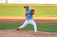 Peoria Chiefs relief pitcher Freddy Pacheco (16) during a Midwest League game against the Bowling Green Hot Rods at Dozer Park on May 5, 2019 in Peoria, Illinois. Peoria defeated Bowling Green 11-3. (Zachary Lucy/Four Seam Images)