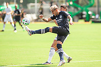 LAKE BUENA VISTA, FL - JULY 9: Ronald Matarrita #22 of NYCFC clears the ball during a game between New York City FC and Philadelphia Union at Wide World of Sports on July 9, 2020 in Lake Buena Vista, Florida.