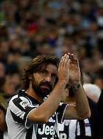 Calcio, Serie A: Juventus vs Napoli. Torino, Juventus Stadium, 23 maggio 2015. <br /> Juventus' Andrea Pirlo greets fans during celebrations for the victory of the Scudetto at the end of the Italian Serie A football match between Juventus and Napoli at Turin's Juventus Stadium, 23 May 2015.<br /> UPDATE IMAGES PRESS/Isabella Bonotto