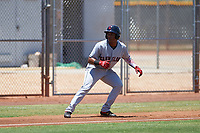 AZL Indians Red Marlin Made (22) leads off third base during an Arizona League game against the AZL Indians Blue on July 7, 2019 at the Cleveland Indians Spring Training Complex in Goodyear, Arizona. The AZL Indians Blue defeated the AZL Indians Red 5-4. (Zachary Lucy/Four Seam Images)