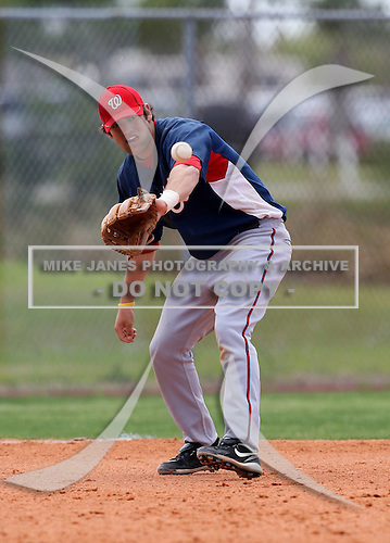 March 22, 2010:  Third Baseman Justin Bloxom of the Washington Nationals organization during Spring Training at the Carl Barger Training Complex in Melbourne, FL.  Photo By Mike Janes/Four Seam Images