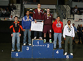 Peter Capone (1st - Johnson City); Rob Morey (2nd - Amsterdam); John-Martin Cannon (3rd - Brockport); Thomas Barriero (4th -Massena); Ron Majerus (5th - Mexico); Kerron Williams (6th - Baldwin) pose on the podium for the Division One 152 weight class during the NY State Wrestling Championship finals at Blue Cross Arena on March 9, 2009 in Rochester, New York.  (Copyright Mike Janes Photography)