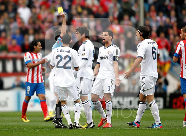 Referee Perez Lasa show yellow card to Real Madrid's PepeA during La Liga BBVA match. April 27, 2013.(ALTERPHOTOS/Alconada)