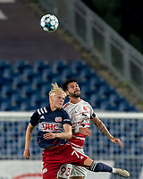 FOXBOROUGH, MA - AUGUST 21: Connor Presley #7 of New England Revolution II and Gianluca Cuomo #93 of Richmond Kickers battle for head ball during a game between Richmond Kickers and New England Revolution II at Gillette Stadium on August 21, 2020 in Foxborough, Massachusetts.