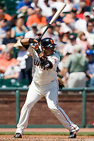 13 April 2008: #1 Bengie Molina of the Giants is seen at bat during the San Francisco Giants 7-4 victory over the St. Louis Cardinals at the AT&T Park in San Francisco, CA.