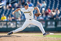 Michigan Wolverines pitcher Jeff Criswell (17) delivers a pitch to the plate against the Texas Tech Red Raiders in Game 11 of the NCAA College World Series on June 21, 2019 at TD Ameritrade Park in Omaha, Nebraska. Michigan defeated Texas Tech 15-3 and is headed to the CWS Finals. (Andrew Woolley/Four Seam Images)