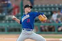 Rancho Cucamonga Quakes starting pitcher Michael Grove (23) during a California League game against the Visalia Rawhide on April 8, 2019 in Visalia, California. Rancho Cucamonga defeated Visalia 4-1. (Zachary Lucy/Four Seam Images)