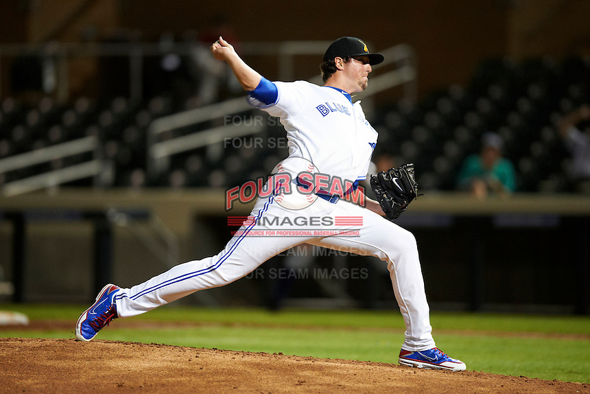 Salt River Rafters pitcher Deck McGuire #33, of the Toronto Blue Jays organization, during an Arizona Fall League game against the Phoenix Desert Dogs at Salt River Fields at Talking Stick on October 16, 2012 in Scottsdale, Arizona.  The game was called after 11 innings with a 3-3 tie.  (Mike Janes/Four Seam Images)