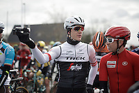 Jasper Stuyven (BEL/Trek-Segafredo) & Sean De Bie (BEL/Lotto-Soudal) taping part of their own (national) tv-show 'Jonge Benen' (= 'Youthful Legs') on the actual race start line<br /> <br /> E3 - Harelbeke 2016