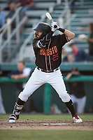 Modesto Nuts right fielder Nick Zammarelli III (25) at bat during a California League game against the Lake Elsinore Storm at John Thurman Field on May 11, 2018 in Modesto, California. Modesto defeated Lake Elsinore 3-1. (Zachary Lucy/Four Seam Images)
