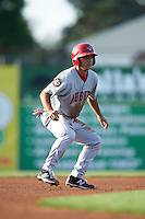 Auburn Doubledays second baseman Max Schrock (9) leads off second during a game against the Batavia Muckdogs on July 10, 2015 at Dwyer Stadium in Batavia, New York.  Auburn defeated Batavia 13-1.  (Mike Janes/Four Seam Images)