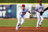 Tennessee Smokies first baseman Jared Young (13) on defense against the Montgomery Biscuits on May 8, 2021, at Smokies Stadium in Kodak, Tennessee. (Danny Parker/Four Seam Images)