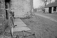 Bikes behing the carpentry block, Summerhill school, Leiston, Suffolk, UK. 1968.