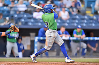 Lexington Legends second baseman D.J. Burt (2) swings at a pitch during a game against the Asheville Tourists at McCormick Field on April 18, 2016 in Asheville, North Carolina. The Legends defeated the Tourists 7-5. (Tony Farlow/Four Seam Images)