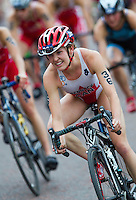 31 MAY 2014 - LONDON, GBR - Ellen Pennock (CAN) of Canada takes a bend during the bike at the elite women's 2014 ITU World Triathlon Series round in Hyde Park, London, Great Britain (PHOTO COPYRIGHT © 2014 NIGEL FARROW, ALL RIGHTS RESERVED)
