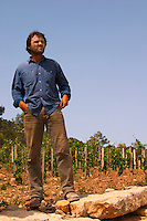 Christophe Peyrus Domaine Clos Marie. Pic St Loup. Languedoc. Carignan grape vine variety. Owner winemaker. France. Europe.