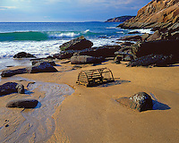 Beached lobster trap on Sand Beach; Acadia  National Park, ME