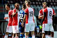 EMMEN - Voetbal, FC Emmen - Heracles Almelo , voorbereiding seizoen 2021-2022, 25-07-2021,  FC Emmen speler Ben Scholte feliciteert FC Emmen speler Rui Mendes met zijn treffer 3-1