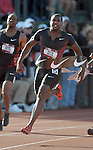 Justin Gatlin crosses the finish line in the 100 meter dash at the U.S. Outdoor Track and Field Championships in Eugene, Oregon June 24, 2011.  REUTERS/Steve Dykes (UNITED STATES)