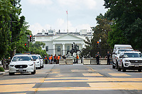 Additional fencing is reinstalled around Lafayette Square across from the White House as demonstrators gather in support of Black Lives Matter in Washington D.C., U.S., on Tuesday, June 23, 2020.  Trump tweeted that he authorized the Federal government to arrest any demonstrator caught vandalizing U.S. monuments, with a punishment of up to 10 years in prison.  Credit: Stefani Reynolds / CNP/AdMedia