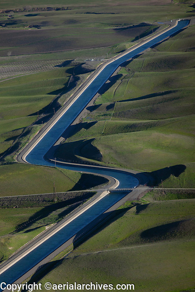 aerial photograph of California Central Valley aqueduct in spring