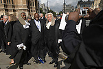 Judges from Commonwealth countries. Lord Chancellors Breakfast. Judges walk from Westminster Abbey to the House of Lords. Central London 2006