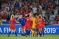 DECINES-CHARPIEU, FRANCE - JULY 02: Julie Ertz #8 and Emily Sonnett #14 and the USWNT celebrate thier Semi-Final victory over England during a 2019 FIFA Women's World Cup France Semi-Final match between England and the United States at Groupama Stadium on July 02, 2019 in Decines-Charpieu, France.