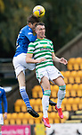 St Johnstone v Celtic…04.10.20   McDiarmid Park  SPFL<br />Murray Davidson gets above David Turnbull<br />Picture by Graeme Hart.<br />Copyright Perthshire Picture Agency<br />Tel: 01738 623350  Mobile: 07990 594431