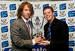St Johnstone FC Players Awards Night...01.05.11  Lovatt Hotel Perth..Stevie May being presented with the We Are Perth Young Player of the Year Award by Jamie Beatson.Picture by Graeme Hart..Copyright Perthshire Picture Agency.Tel: 01738 623350  Mobile: 07990 594431
