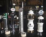 Various Beer Taps, Gun Restaurant, East London, London, Great Britain, Europe
