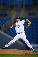 Lake County Captains pitcher Cameron Hill (15) delivers a pitch during a game against the Fort Wayne TinCaps on May 20, 2015 at Classic Park in Eastlake, Ohio.  Lake County defeated Fort Wayne 4-3.  (Mike Janes/Four Seam Images)