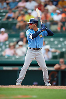 Tampa Bay Rays second baseman Andrew Velazquez (11) at bat during a Grapefruit League Spring Training game against the Baltimore Orioles on March 1, 2019 at Ed Smith Stadium in Sarasota, Florida.  Rays defeated the Orioles 10-5.  (Mike Janes/Four Seam Images)