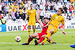 Jackson Irvine of Australia (R) fights for the ball with Anas Bani-Yaseen of Jordan (L) during the AFC Asian Cup UAE 2019 Group B match between Australia (AUS) and Jordan (JOR) at Hazza Bin Zayed Stadium on 06 January 2019 in Al Ain, United Arab Emirates. Photo by Marcio Rodrigo Machado / Power Sport Images