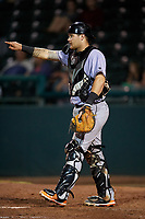 Jupiter Hammerheads catcher Jarett Rindfleisch (25) during a game against the Daytona Tortugas on April 13, 2018 at Jackie Robinson Ballpark in Daytona Beach, Florida.  Daytona defeated Jupiter 9-3.  (Mike Janes/Four Seam Images)