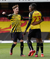Joao Pedro (10) of Watford (centre) celebrates with James Garner (16) (on loan from Man Utd) of Watford and Ismaila Sarr (23) of Watford after he scores the opening goal during the Sky Bet Championship match between Watford and Luton Town at Vicarage Road, Watford, England on 26 September 2020. Photo by David Horn.