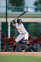 GCL Pirates Carlos Canache (13) at bat during a Gulf Coast League game against the GCL Twins on August 6, 2019 at Pirate City in Bradenton, Florida.  GCL Twins defeated the GCL Pirates 1-0 in the second game of a doubleheader.  (Mike Janes/Four Seam Images)