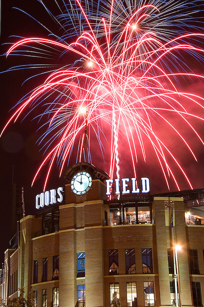 Fireworks on July 4th at Cooors Field, Colorado Rockies baseball team, Denver, Colorado. .  John offers private photo tours in Denver, Boulder and throughout Colorado. Year-round.
