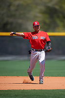 Boston Red Sox Carlos Tovar (5) during practice before a minor league Spring Training game against the Tampa Bay Rays on March 23, 2016 at Charlotte Sports Park in Port Charlotte, Florida.  (Mike Janes/Four Seam Images)