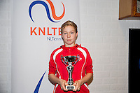 November 30, 2014, Almere, Tennis, Winter Youth Circuit, WJC,  Prizegiving, Lodewijk Weststraten, boys 14 years, 2nd place.<br /> Photo: Henk Koster