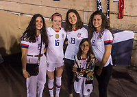 PASADENA, CA - AUGUST 4: Rose Lavelle #16 poses with the family of Gianni Infantino during a game between Ireland and USWNT at Rose Bowl on August 3, 2019 in Pasadena, California.