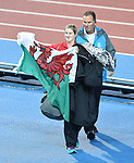 Wales' Sally Peake celebrates claiming a silver medal in the women's pole vault final<br /> <br /> Photographer Chris Vaughan/Sportingwales<br /> <br /> 20th Commonwealth Games - Day 10 - Saturday 2nd August 2014 - Athletics - Hampden Park - Glasgow - UK